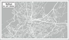 Mappa della città di Belfast Irlanda nel retro stile Immagine Stock