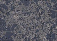 Mappa della città di Birmingham, Wolverhampton, parti centrali inglesi, Regno Unito, Inghilterra fotografia stock