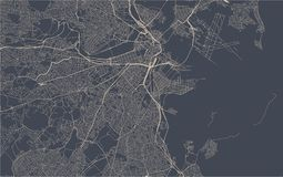 Mappa della città di Boston, U.S.A. illustrazione di stock