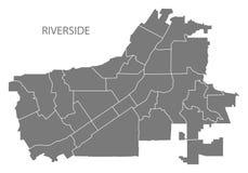 Mappa della città di California della riva del fiume con il illustrati di grey delle vicinanze Fotografie Stock