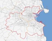 Mappa della città di Dublino Fotografia Stock Libera da Diritti