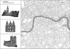 Mappa della città di Londra con le icone disegnate a mano di architettura illustrazione di stock
