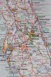 Mappa della città di Orlando e di Florida centrale Fotografia Stock Libera da Diritti