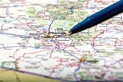 Mappa della città di Phoenix per l'azionamento di viaggio Fotografia Stock Libera da Diritti