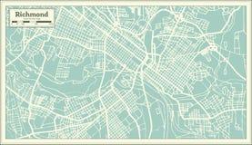Mappa della città di Richmond Virginia U.S.A. nel retro stile Illustrazione in bianco e nero di vettore illustrazione vettoriale
