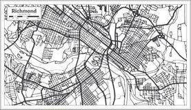 Mappa della città di Richmond Virginia U.S.A. nel retro stile Illustrazione in bianco e nero di vettore royalty illustrazione gratis
