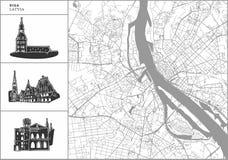 Mappa della città di Riga con le icone disegnate a mano di architettura illustrazione di stock