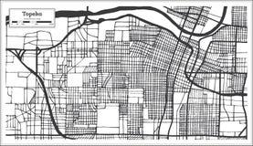 Mappa della città di Topeka Kansas U.S.A. nel retro stile Fotografie Stock