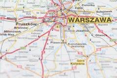 Mappa della città di Varsavia. Immagine Stock