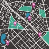 Mappa della città di vettore Immagine Stock