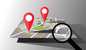 Mappa della città di vettore con i perni di posizione Fotografie Stock