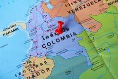 Mappa della Colombia Fotografia Stock