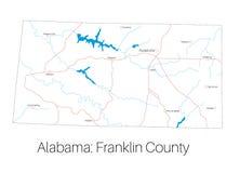 Mappa della contea di Franklin nell'Alabama illustrazione vettoriale
