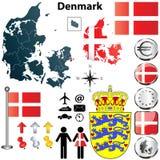 Mappa della Danimarca Fotografie Stock
