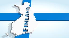 Mappa della Finlandia sulla bandiera nazionale Immagini Stock