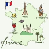 Mappa della Francia Fotografia Stock Libera da Diritti