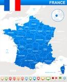 Mappa della Francia, bandiera ed icone di navigazione - illustrazione Immagine Stock Libera da Diritti
