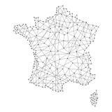 Mappa della Francia dalle linee nere poligonali, punti dell'illustrazione royalty illustrazione gratis