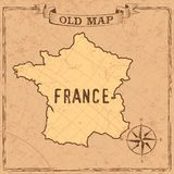 Mappa della Francia di vecchio stile royalty illustrazione gratis