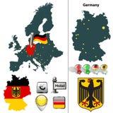 Mappa della Germania con la bandiera Fotografie Stock Libere da Diritti