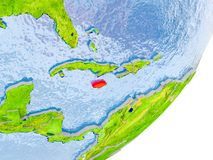 Mappa della Giamaica su terra Immagini Stock