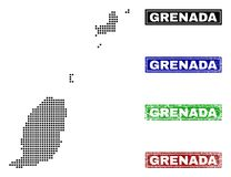 Mappa della Granada in Dot Style con i bolli di nome di lerciume illustrazione di stock