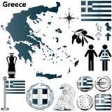 Mappa della Grecia Fotografia Stock