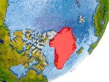 Mappa della Groenlandia su terra Fotografia Stock