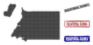 Mappa della Guinea Equatoriale in Dot Style di semitono con i bolli di titolo di lerciume illustrazione di stock