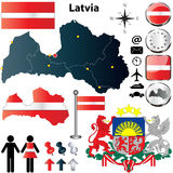 Mappa della Lettonia Fotografia Stock