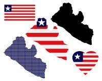 Mappa della Liberia Fotografia Stock