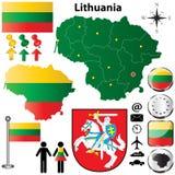 Mappa della Lituania Fotografia Stock