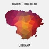 Mappa della Lituania in poligonale geometrico, stile del mosaico Fotografie Stock Libere da Diritti