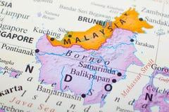Mappa della Malesia in mezzo al Brunei ed al Borneo immagine stock