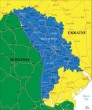 Mappa della Moldavia Fotografia Stock