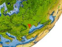 Mappa della Moldavia su terra Immagini Stock