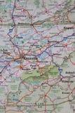 Mappa della Nord Carolina ad ovest orientale di TN Fotografia Stock