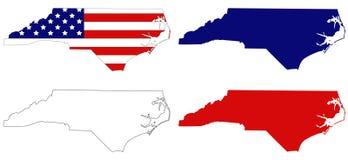 Mappa della Nord Carolina con la bandiera di U.S.A. - stato nella regione sudorientale degli Stati Uniti Fotografie Stock Libere da Diritti