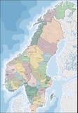 Mappa della Norvegia e della Svezia Fotografie Stock