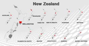 Mappa della Nuova Zelanda Immagine Stock Libera da Diritti