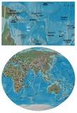 Mappa della Papuasia Nuova Guinea Coral Sea e dell'Asia Oceania Immagine Stock Libera da Diritti