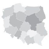 Mappa della Polonia con i voivodeships Fotografia Stock Libera da Diritti