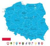 Mappa della Polonia ed icone piane della mappa royalty illustrazione gratis