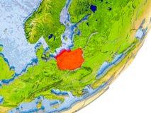 Mappa della Polonia su terra Fotografia Stock Libera da Diritti
