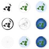 Mappa della proiezione equidistante azimutale di terra Immagine Stock Libera da Diritti