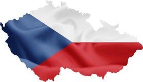 Mappa della repubblica Ceca con la bandiera fotografie stock libere da diritti