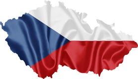 Mappa della repubblica Ceca con la bandiera fotografia stock