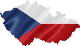 Mappa della repubblica Ceca con la bandiera immagine stock