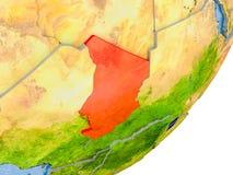 Mappa della Repubblica del Chad su terra Fotografia Stock