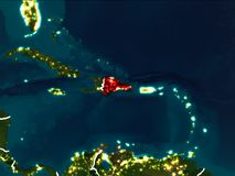 Mappa della Repubblica dominicana alla notte Fotografia Stock Libera da Diritti